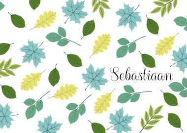 Geboortekaartje Sebastiaan met bladeren