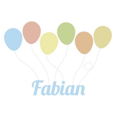 Geboortekaartje Fabian met ballonnen
