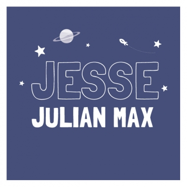 Geboortekaartje Jesse planeetje en raket