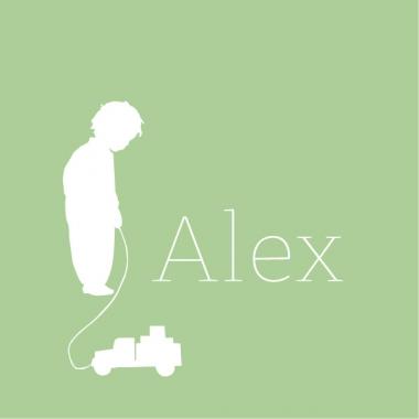 Geboortekaartje Alex met trein