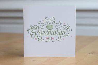 Geboortekaartje op maat - Rozemarijn