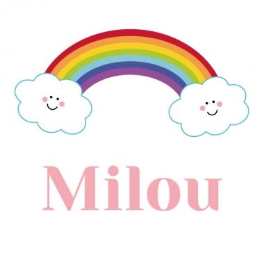 Geboortekaartje Milou met regenboog