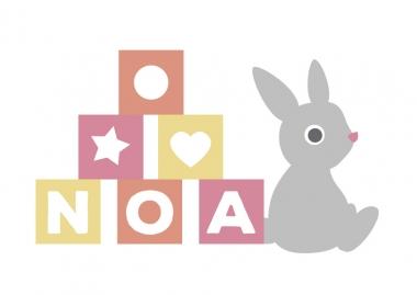 Geboortekaartje Noa met blokken en knuffelkonijn