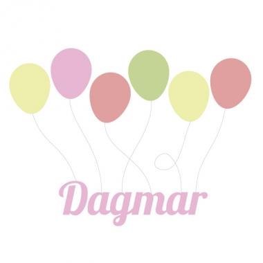 Geboortekaartje Dagmar met ballonnen