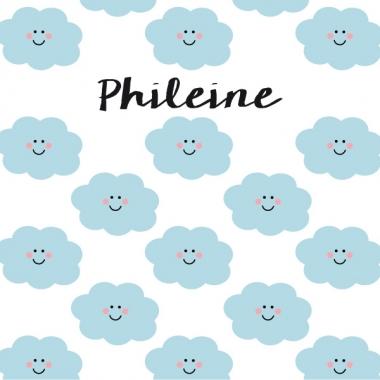 Geboortekaartje Phileine met vrolijke wolkjes