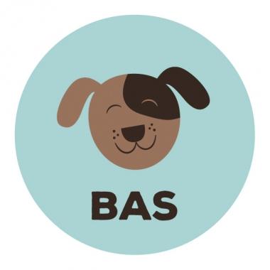 Geboortekaartje Bas met hondje