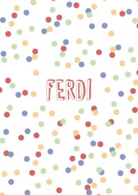 Geboortekaartje Ferdi confetti