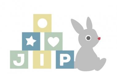 Geboortekaartje Jip met blokken en knuffelkonijn