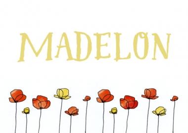 Geboortekaartje Madelon met klaprozen